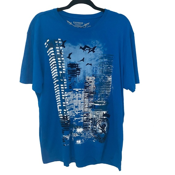 new Express ★ Flocked Graphic Night Tee ★ Cerulean